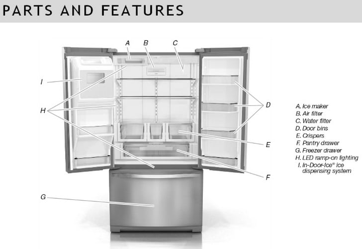 whirlpool refrigerator parts names and location