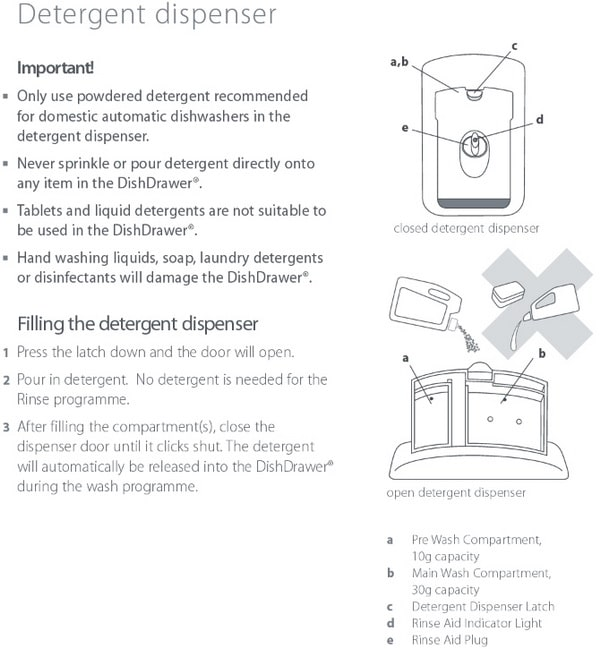 Fisher and Paykel Dishwasher Detergent Dispenser Instructions