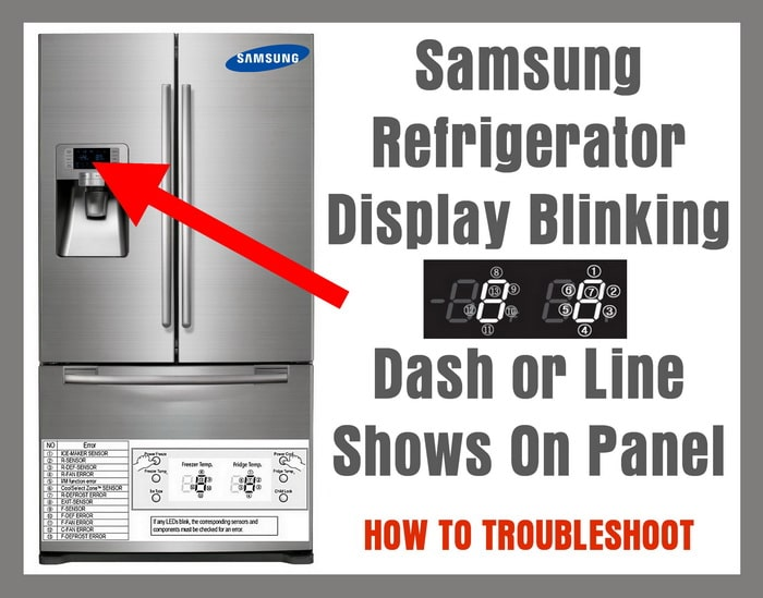 samsung refrigerator display blinking dash or line shows on panel
