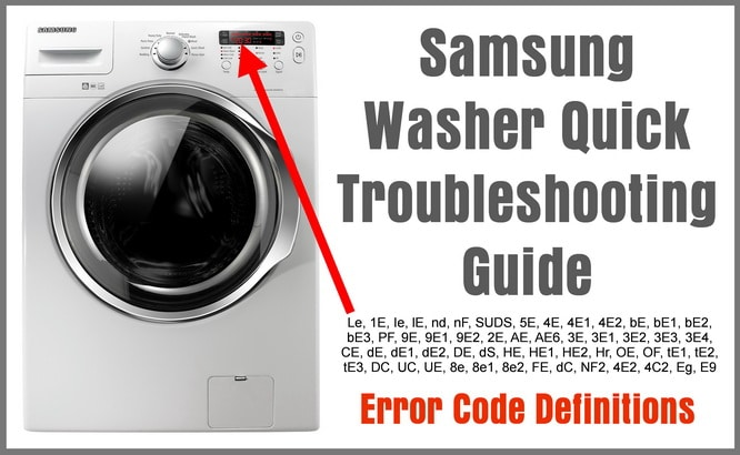Samsung Washer Quick Troubleshooting Guide - Error Code Definitions