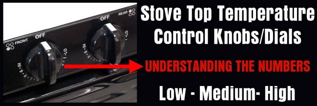 stove top temp control setting numbers