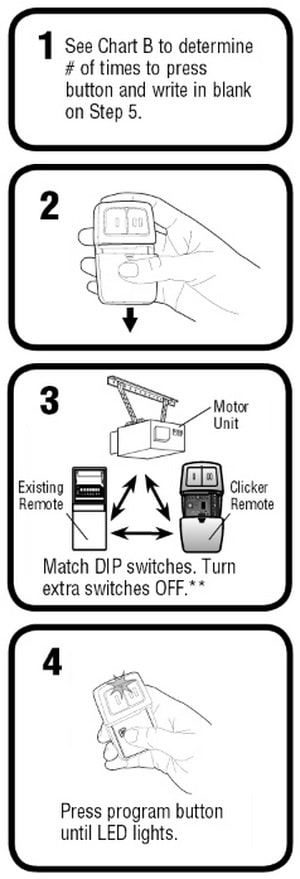 Clicker Universal 2-Button Garage Door Remote KLIK1U - Dip Switch Instructions 1