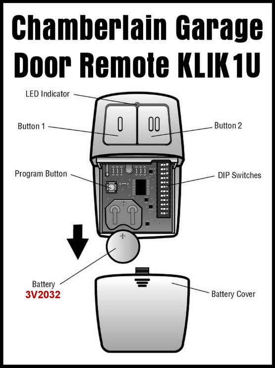Clicker Universal 2-Button Garage Door Remote KLIK1U - Parts Identification
