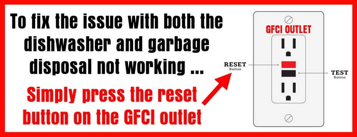 Reset the GFCI Outlet if Dishwasher and Garbage Disposal not working