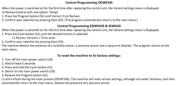 Dacor Dishwasher Control Programming