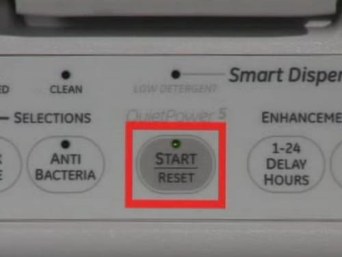 GE Dishwasher - Press START button Once To Start - Twice To RESET