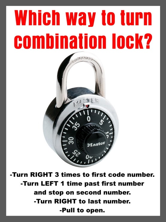 Which way to turn a combination lock?