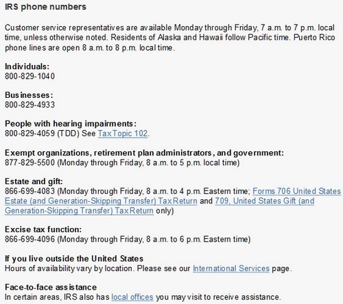 IRS Phone Numbers For Individuals And Businesses