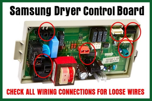 Samsung dryer control board E3 Error Code Check wires for loose connections samsung dryer error code e3 how to clear? what to check  at virtualis.co