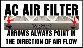 ac air filter arrow direction