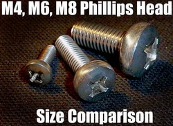 M4 M6 M8 Screw Size Comparison Chart