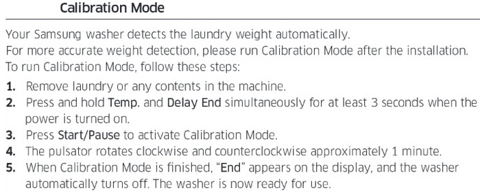 Samsung top load washer HOW TO CALIBRATE - CALIBRATION MODE