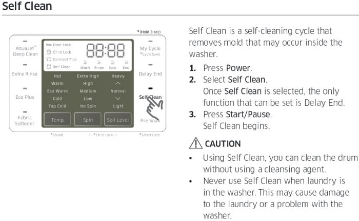 Samsung top load washer SELF CLEAN MODE