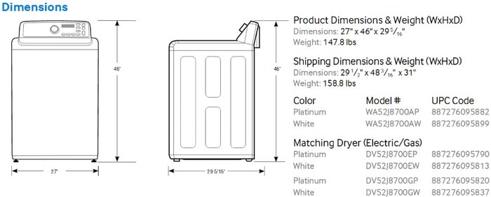 Samsung Top Load Washer WA MODEL NUMBERS Dimensions