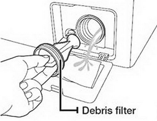 Clean the debris filter if your Samsung washer is NOT DRAINING