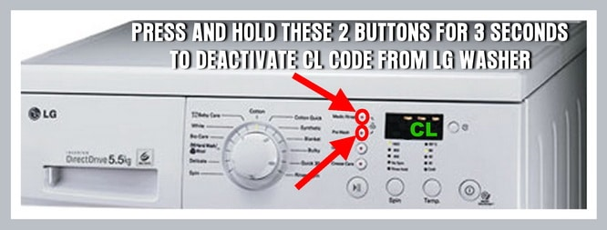 LG washer panel shows CL error code