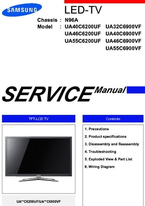 Tv service repair manuals schematics and diagrams samsung tv manual for service and repair fandeluxe Choice Image