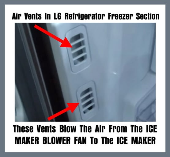Air Vents In LG Refrigerator Freezer Section That Blow The Air From The ICE MAKER BLOWER FAN To The ICE MAKER
