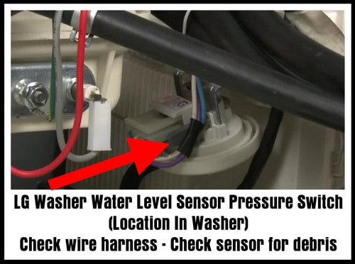 LG Water Level Sensor Pressure Switch Location In Washer