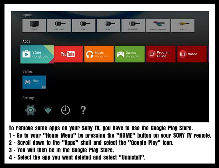 SONY TV - Remove Apps - Google Play Store - Select and Uninstall