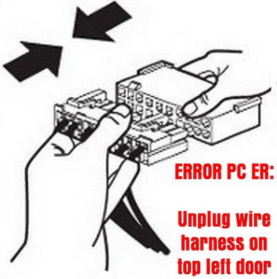 To clear the PC ER error on Samsung refrigerator - Unplug wire harness in top left door