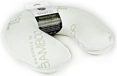 Essence of Bamboo Travel Neck Pillow - Premium Memory Foam Hypoallergenic Travel Pillow with Removable Bamboo Derived Rayon Cover