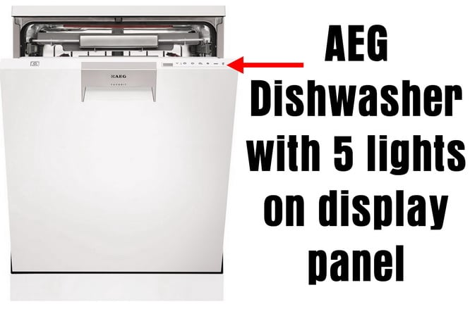 AEG Dishwasher with 5 lights on display panel