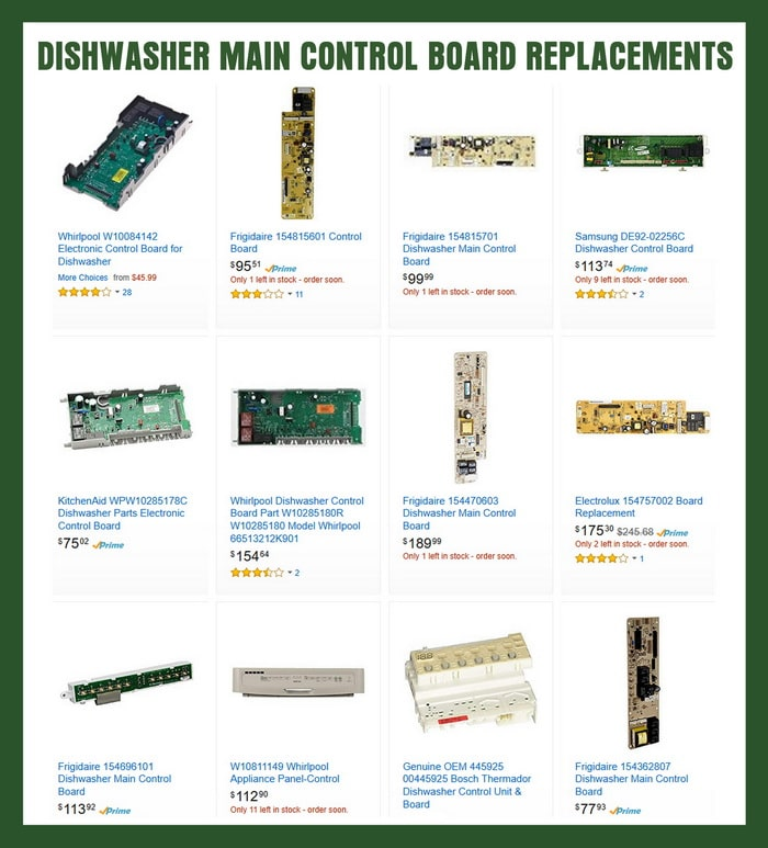 dishwasher main control boards