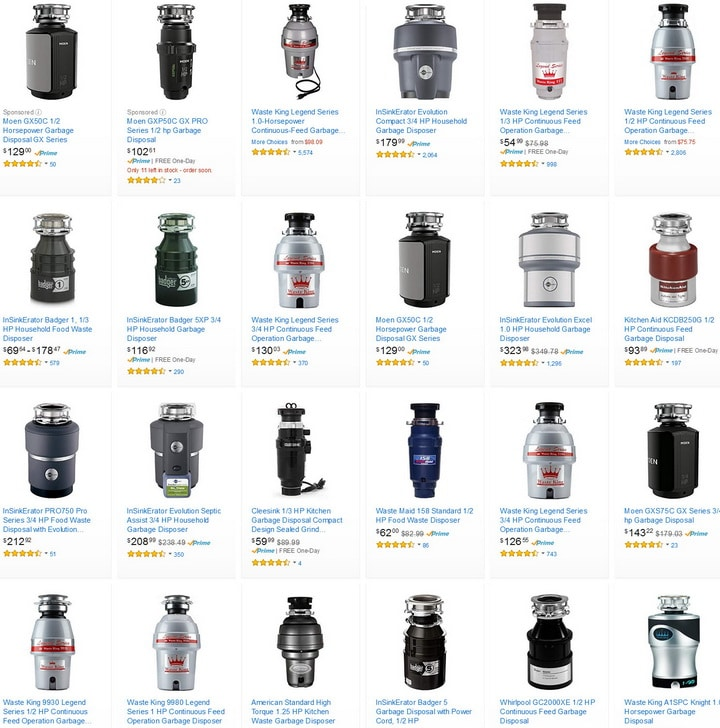 new replacement garbage disposals