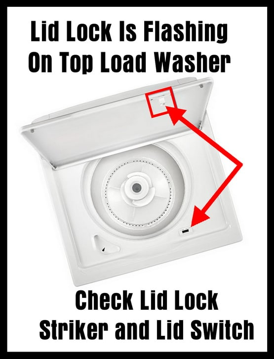 Lid Lock Is Flashing On Top Load Washer - Check Lid Lock Striker and Lid Switch