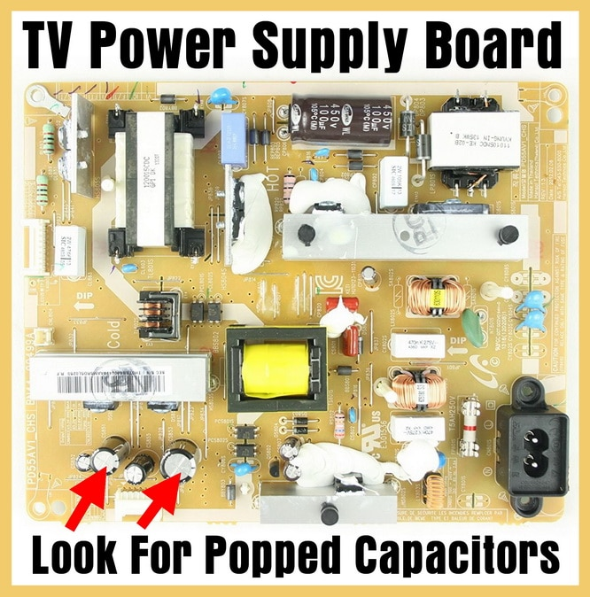 TV Power Supply Board - Look For Popped Capacitors