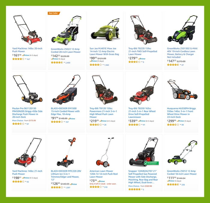 New Lawn Mowers - Gas and Electric