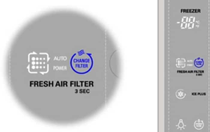 LG refrigerator REPLACE AIR FILTER