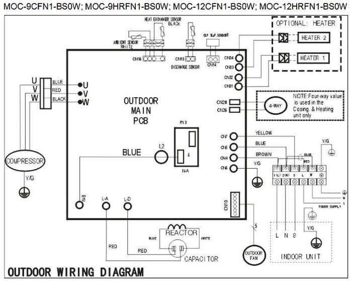 Senville Mini Split AC Outdoor Unit Wiring Diagram