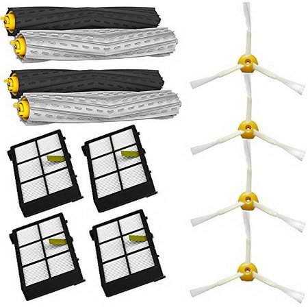 Tangle-Free Debris Extractor Set & Side Brushes & Hepa Filters replacement Kit For iRobot Roomba 800 series 870 880