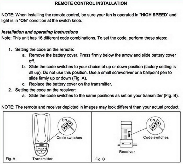 Ceiling Fan Remote Control And Receiver Dip Switch Setup Installation