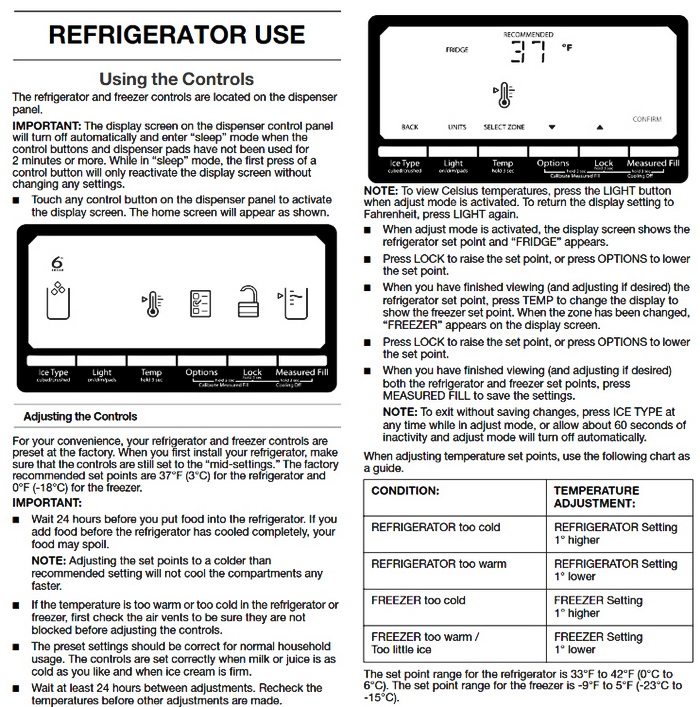 Whirlpool Gold Series Refrigerator Use Guide 1