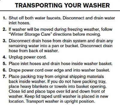 Maytag - Moving your washer