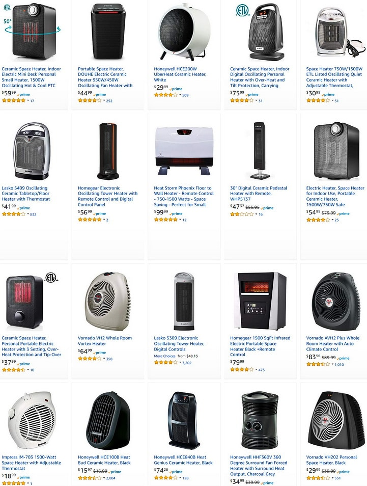 Amazon.com space heater Space Heaters Space Heaters Accessories Home Kitchen
