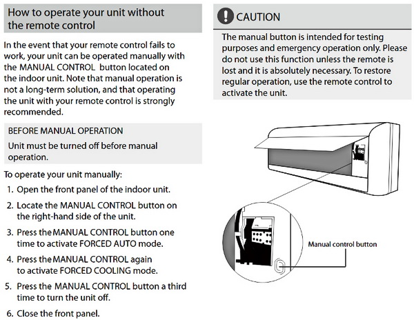 ComfortStar Split System AC - How To operate without remote