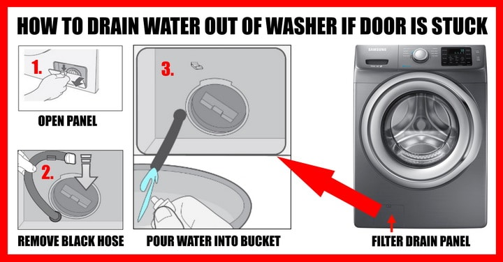 HOW TO DRAIN OUT WATER IN WASHER IF DOOR IS STUCK