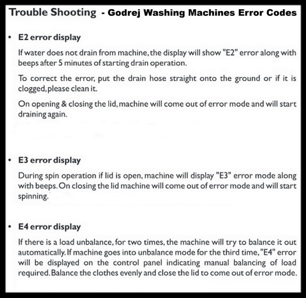 Godrej Washing Machines Error Codes - Fault Code Definitions 2