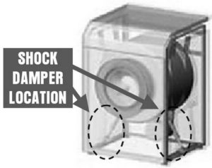 Washing machine damper locations