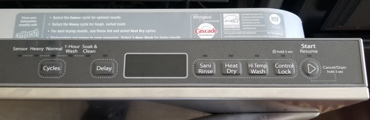 Dishwasher Control Panel - Heavy, Normal, Sensor, SoakClean