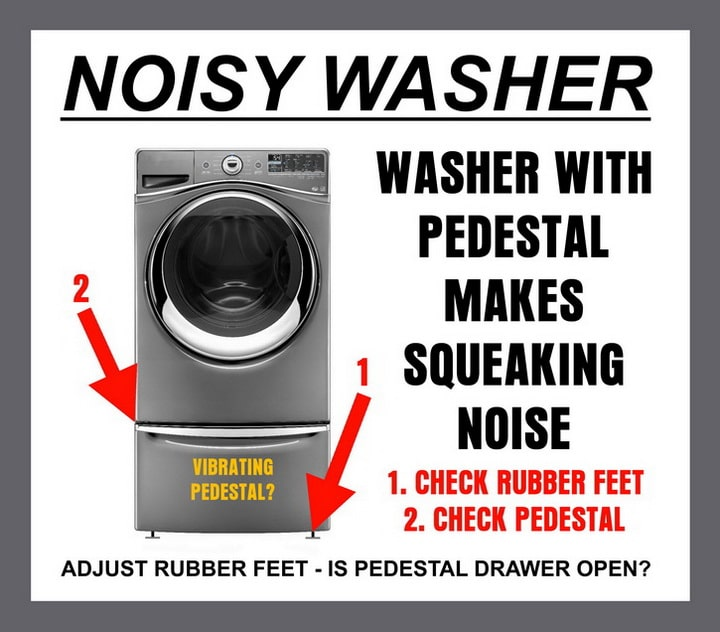 How to fix a washing machine pedestal squeaking