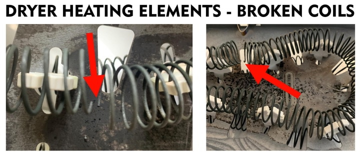 dryer heating element coils broken