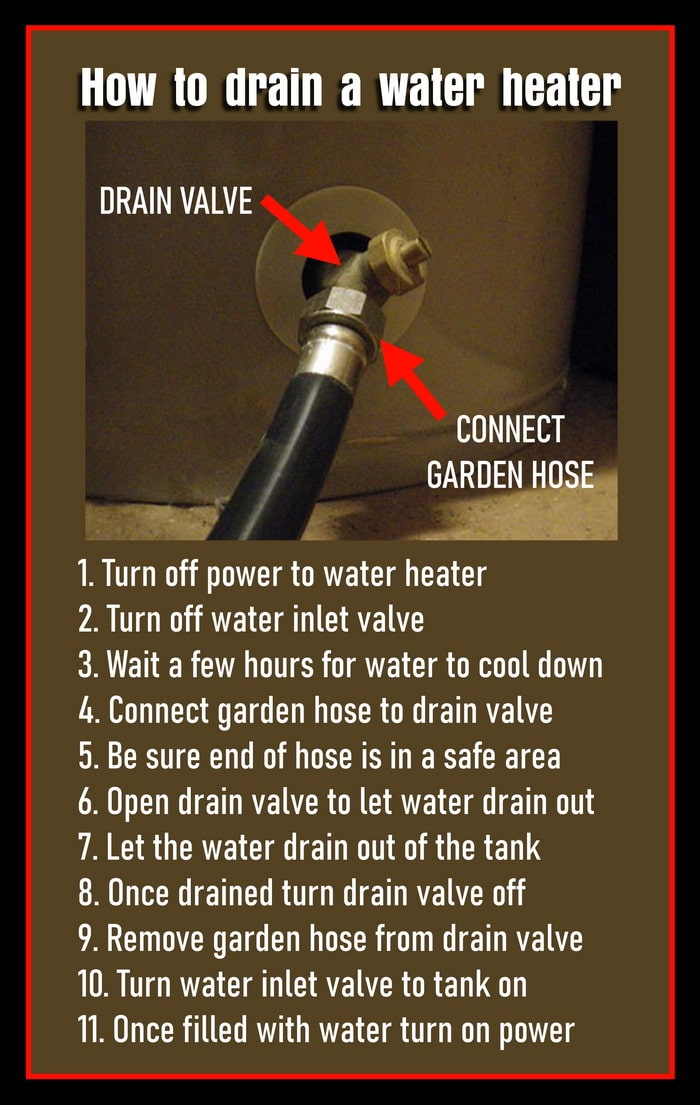 Connect garden hose to water heater to drain