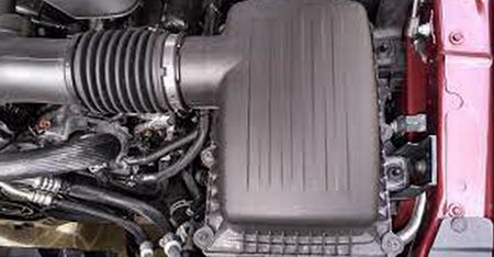 Air filter box location in engine