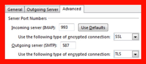 Set Incoming server (IMAP) to 993 with SSL encryption, then set Outgoing server with TLS encryption