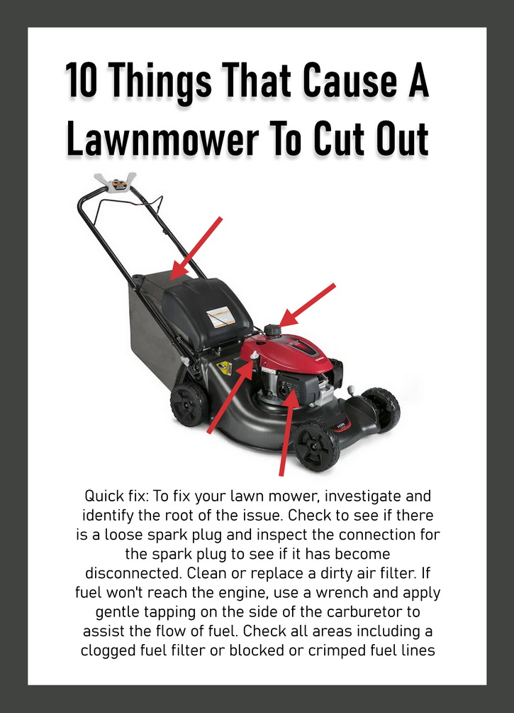 10 Issues That Cause A Lawnmower To Randomly Cut Out